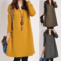 3 Color Autumn Women Long Sleeve Pockets Dress Ladies Casual