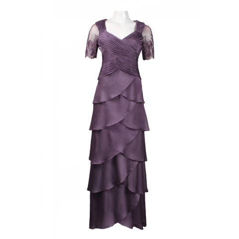 Adrianna Papell Lace Sleeve Criscrossed Tiered Chiffon Dress, Violet, 4