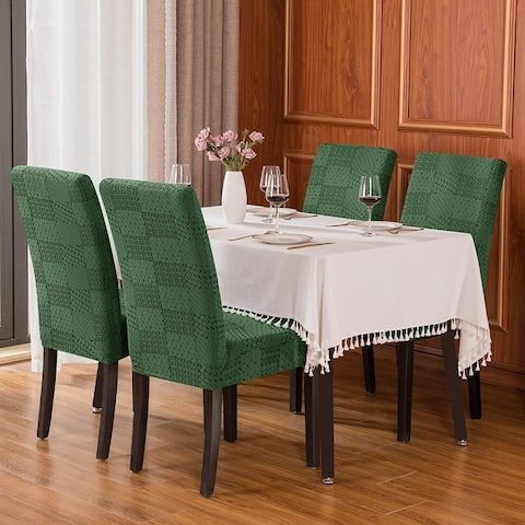subrtex Set of 4 StretchDiningRoomChairCovers Jacquard Cover