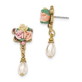 Goldtone Pink Porcelain Flowers & Crystal Post Earrings