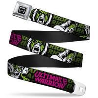 Ultimate Warrior Parts Unknown Mask Full Color Black White Ultimate Warrior Seatbelt Belt