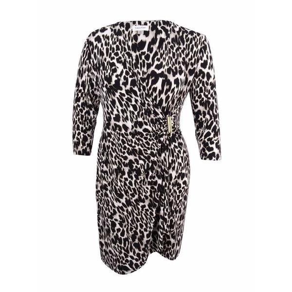 2a39005b811 Shop Calvin Klein Women s Plus Size Printed Faux-Wrap Dress - Khaki Multi -  On Sale - Free Shipping Today - Overstock - 23441172