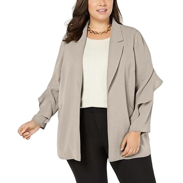 Alfani Women's Jacket Sand Beige Size 2X Plus Ruffled Open Front. Opens flyout.