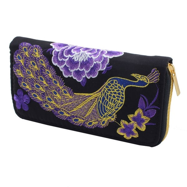 Women Ladies Peacock Embroidered Flowers Design Zip Up Purse Coin Wallet