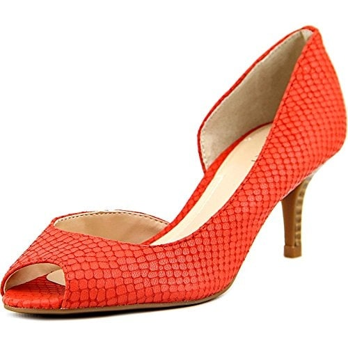 Tahari Jessie Women Peep-Toe Leather Orange Heels, Black, Size 5.5