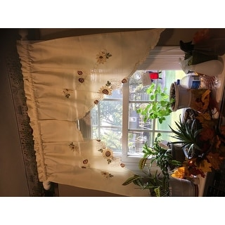Embroidered Sunflower Kitchen Curtains Separates Tier Swag And Valance Options Free Shipping