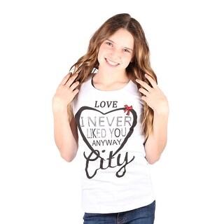 Lori&Jane Girls White Graphic Print Heart Short Sleeve Top