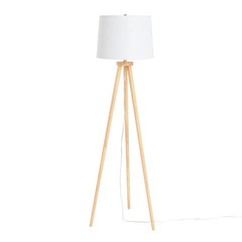 A-Frame Tripod Rubber Wood Floor Lamp