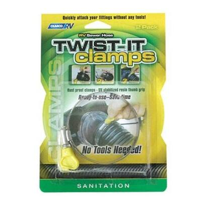 Camco 39553 Rv Sewer Hose Twist-It Clamp, 3""