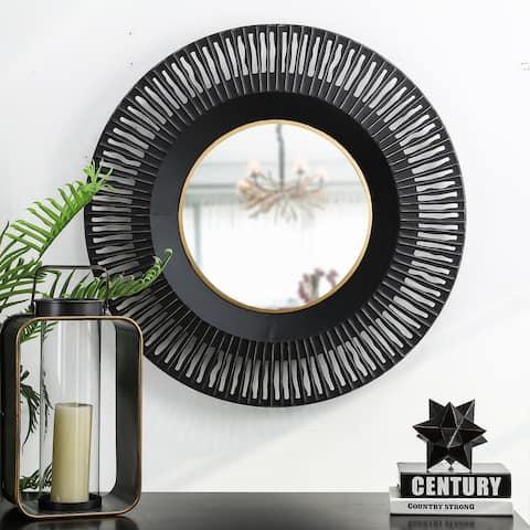 Glitzhome Oversized Vintage Industrial Metal Black Wall Mirror