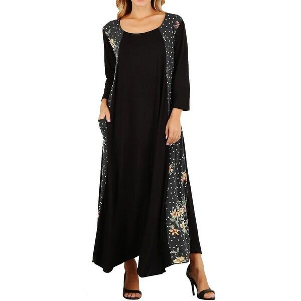 e3c482922efa Shop Funfash Plus Size Women Black White Peach Long Sleeves Maxi Dress USA  - Free Shipping Today - Overstock - 28087866