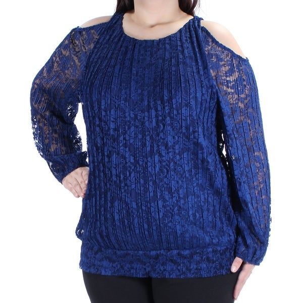 e73126994f3 Shop INC Womens Blue Floral Long Sleeve Jewel Neck Top Size: XL - On Sale - Free  Shipping On Orders Over $45 - Overstock - 27764812