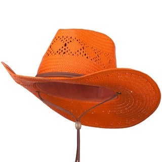 Vented Leather Band Outback Hat - Orange W32S14F - Medium/Large