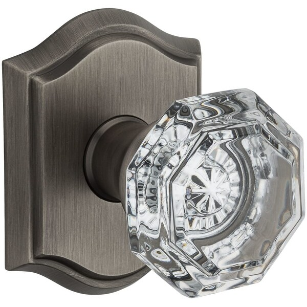 TAR Crystal Privacy Door Knob Set With Traditional Arch Trim From