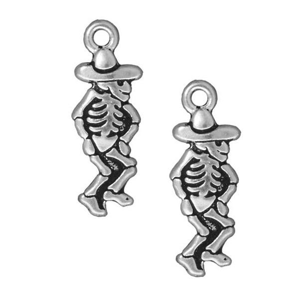 TierraCast Silver Plated Pewter Dia De Los Muertos Dancing Senor Pendant Charm 28mm (1)