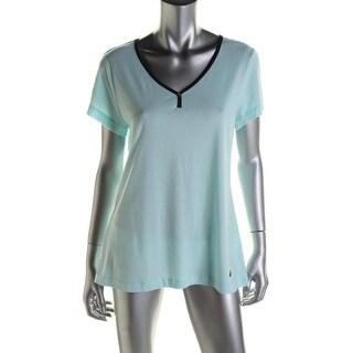 Nautica Womens Modal Blend Contrast Trim Sleep Shirt - XS