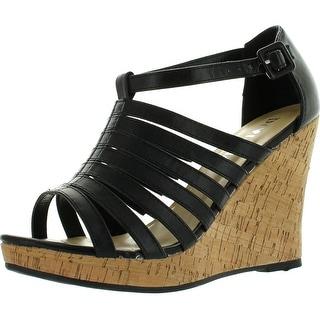 Diviana Kealie-17 Womens Cork Platform Ankle Strap Strappy Wedge Sandals - Camel