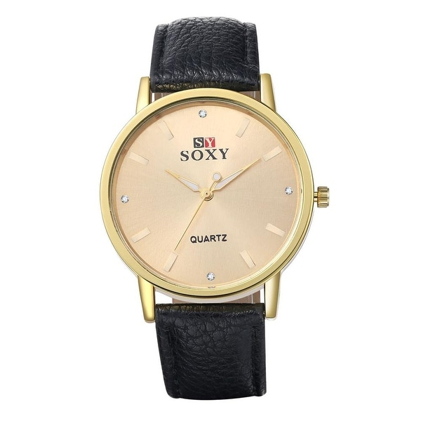 Classic Modern Faux Black Leather Watch