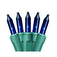Blue 35-Bulb Mini Christmas Lights, 7 ft Green Wire