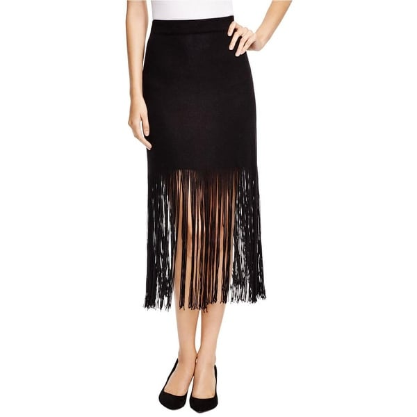 Nic + Zoe Womens Straight Skirt Fringe Knit