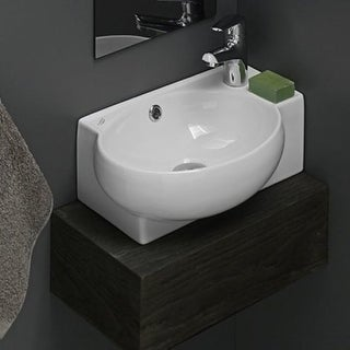 """Nameeks 001300-U CeraStyle 17-1/2"""" Ceramic Wall Mounted Bathroom Sink with 1 Faucet Hole and Overflow"""