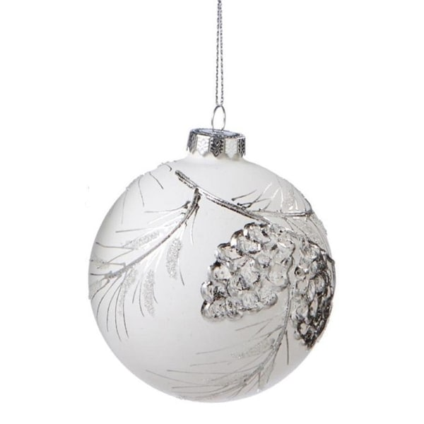 """Winter Light White and Silver Glass Ball Christmas Ornament 3.5"""" (90mm)"""