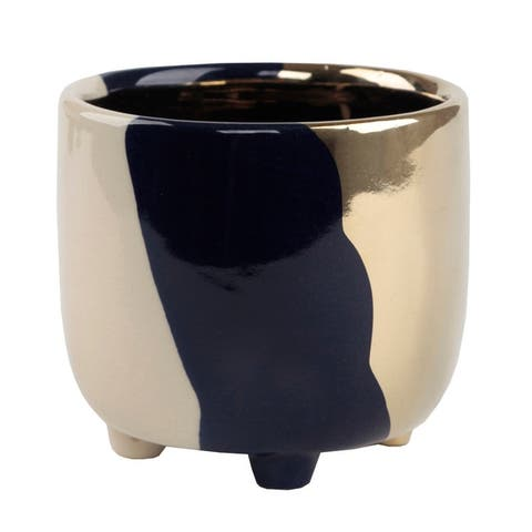 4.8-inch Three-tone Mid-century Modern Footed Ceramic Planter Pot