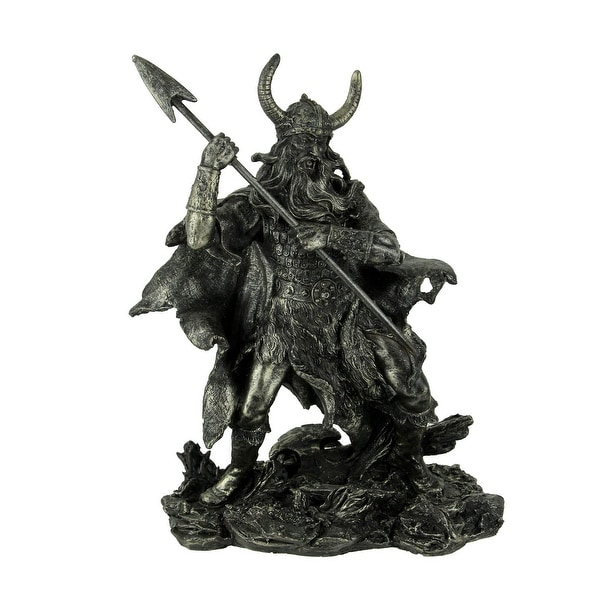 Antique Pewter Finish Viking Warrior Standing Holding Spear - 11.5 X 8 X 5.25 inches