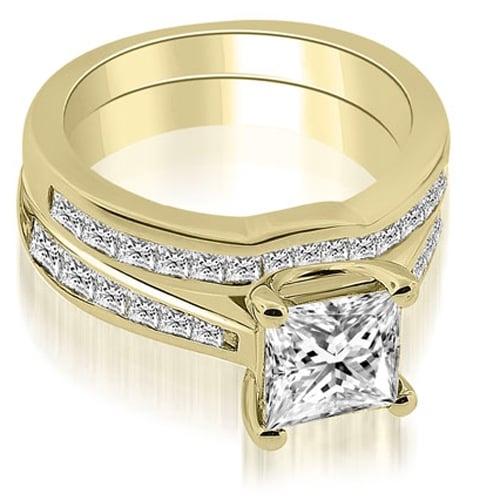 2.00 cttw. 14K Yellow Gold Cathedral Channel Set Princess Diamond Bridal Set
