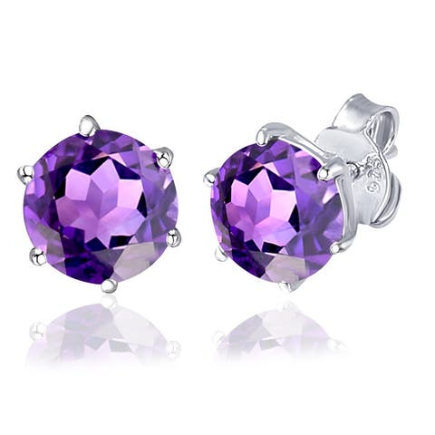Multi Color Gemstones Sterling Silver Round Stud Earring by Orchid Jewelry
