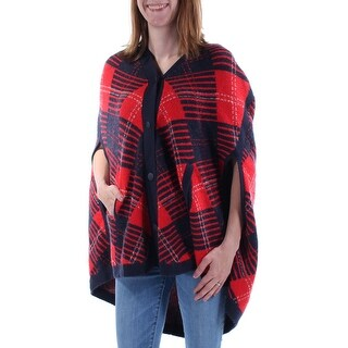 Womens Navy 3/4 Sleeve V Neck Intimates PONCHO Sweater Size XS