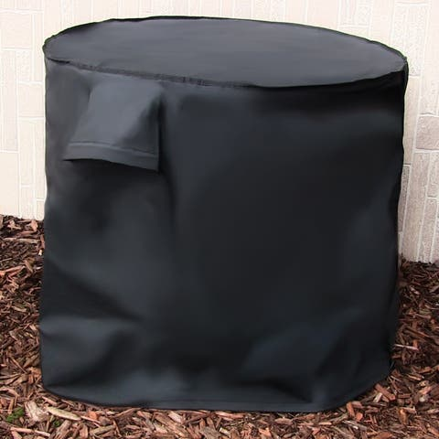 Sunnydaze Round Air Outdoor Conditioner Protective Cover Black - 34 X 30-Inch