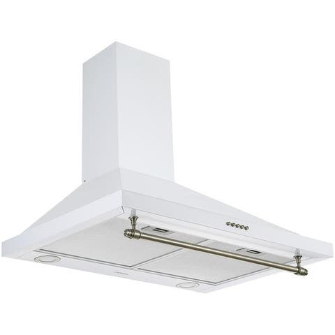 Ancona Vintage Style 30 in. Convertible Wall Pyramid Range Hood, White