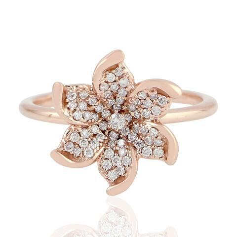 18k Rose Gold Flower Ring Diamond Handmade Jewellery