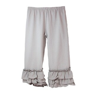 Girls Gray Triple Tier Ruffle Cuffed Cotton Spandex Pants 12M-7