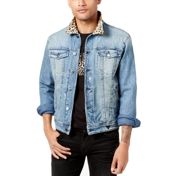 All Mens Sale Guess >> Guess Blue Mens Size 2xl Cheetah Print All Or Nothing Jean Jacket