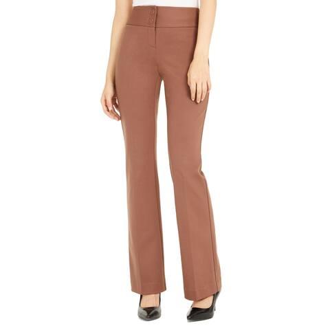 Alfani Womens Dress Pants Brown Size 8X30 Mid Rise Straight Leg Stretch