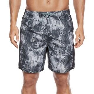 Nike NEW Gray Mens Size Medium M Drawstring Filter Print Swim Trunks
