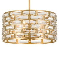 "Crystorama Lighting Group MER-4866 Meridian 6 Light 20"" Wide Drum Chandelier - Antique Gold"