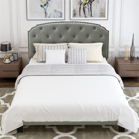 Upholstered Platform Bed with Rond Headboard Wood Slat Support