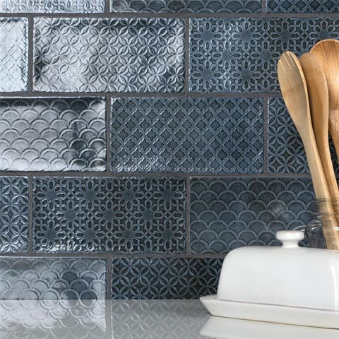 SomerTile Camden Decor Azurro 4x8-inch Ceramic Wall Tile (50 tiles/11.9 sqft.) - CASE