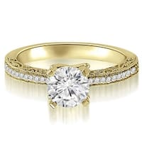 0.65 cttw. 14K Yellow Gold Antique Milgrain Round Cut Diamond Engagement Ring