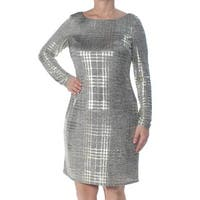 JESSICA HOWARD Womens Gold Printed Long Sleeve Scoop Neck Above The Knee Sheath Cocktail Dress  Size: 12