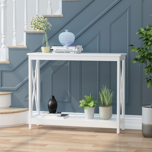 """Lomiller Farmhouse Accent Console Table by Christopher Knight Home - 39.50"""" W x 11.90"""" D x 31.90"""" H. Opens flyout."""