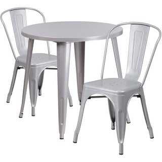 Brimmes 3pcs Round 30'' Silver Metal Table w/2 Cafe Chairs