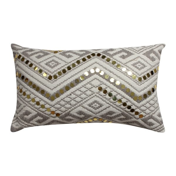 20 X 12 Sequin Embellished Handwoven Cotton Accent Pillow White And Gray Overstock 31423679