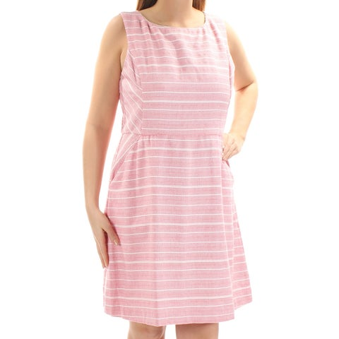 JESSICA SIMPSON Womens Pink Textured Striped Sleeveless Jewel Neck Above The Knee A-Line Dress Size: 14