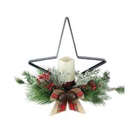 "15"" Pine Needle, Berry and Jingle Bell Deep Green Star Shaped Candle Holder"