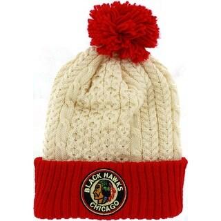 Chicago Blackhawks Patch Cuffed Knit Beanie with Pom