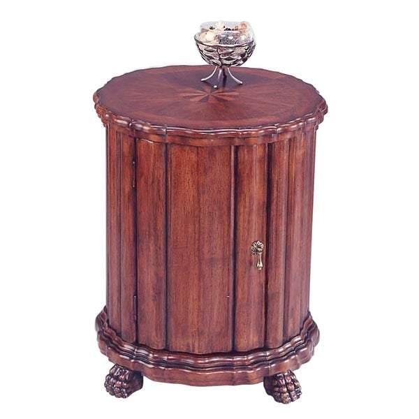 new arrival 111ed a3327 Offex Traditional Wooden Round Drum Table in Plantation Cherry Finish -  Dark Brown